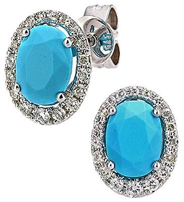 Naava 9 ct Gold Diamond and Gemstone Oval Cut Earrings
