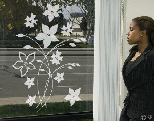 fenstertattoo blumen Fenster Aufkleber No. SF961Traumhafte Blumen–Glasfensterfolie Selbstklebend | Michglasfolie 5 Farben, Fensterfolie, Klebefolie, Sichtschutz, Michglasfolie, Badfarbe:Frosted, Maße:45 cm x 32 cm.