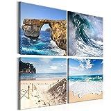 decomonkey Bilder Strand Meer 60x60 cm XXL Leinwandbilder Bild auf Leinwand Vlies Wandbild Kunstdruck Wanddeko Wand Wohnzimmer Wanddekoration Deko Natur Landschaft