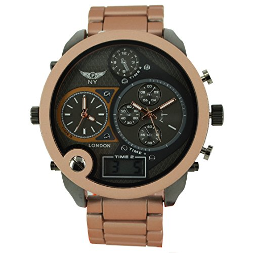 mens-designer-triple-time-watch-digital-analogue-soft-metal-band