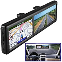 BW® 4.3 Inch Rearview Mirror with GPS Navigation, Car Bluetooth Handsfree Calling 4GB Built-in Europe Maps