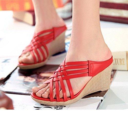 TAOFFEN Femmes Mode Creux Sandales Talons Compense Plateforme Slide Chaussures Rouge