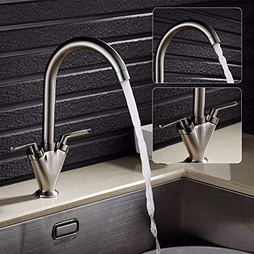 KLYBFN&N Doppelgriff Spüle Becken Wasserhahn Nickel Pinsel Swivel Bad Badewanne Mischbatterie Mit Schläuchen (Wasserhahn Nickel Badewanne Pinsel)