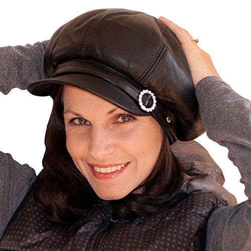 Dazoriginal Womens Big Baker Boy Cap Leather Hat Newsboy Vintage Slouchy Painter