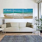 WENJUN Wandbilder 3 Panels Modern Gestreckte Und Gerahmte Meeresstrandbilder Auf Leinwand Wandkunst Für Schlafzimmer-Inneneinrichtung, 3 Farben, 2 Größen (Farbe : D, größe : 60 * 60cm)