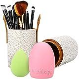 Molain Set de Brochas de Maquillaje 8 PCs con Puff Esponja de Maquillaje, Huevo Silicona de Limpieza Brochas y Estuche PU, Kit de Maquillaje para Viaje
