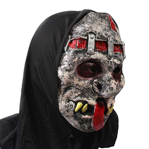 QHJ Halloween Kostüm Party Maske Blutige Face Off Horror Halloween Kostüm Maske Helloween Kostüm Party (B)