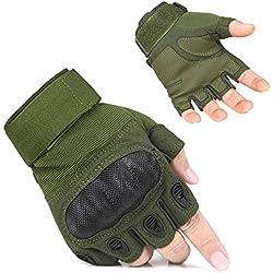 freemaster tactique Veste de cyclisme gants mitaines sans doigts Militaire Airsoft chasse Gants d'équitation M vert