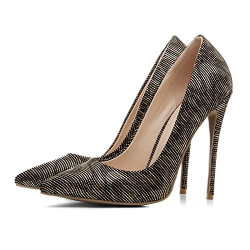 Sexy Femme Stiletto Talons Hauts Chaussures Or Fermé Pointes Toe Pompes Travail Inteligente Robe Taille 35-43 Or