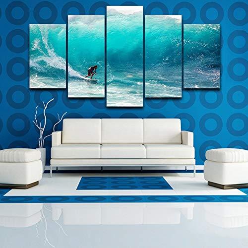 LZLZ 5 aufeinanderfolgende GemäldeModerne Dekoration Wand Poster für Zuhause Wohnzimmer 5 Stück Surfer Waves Seaview Leinwand Gemälde Modular