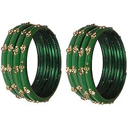 Nmii Green Diamond Glass Studded With Zircon Bangle Set For Women