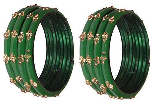 Nmii Green Diamond Glass Studded With Zircon Bangle Set For Women