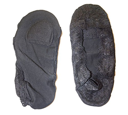 Donna footsies genuini antiscivolo scarpe fodera invisibile 3 paia nero con sottopiede imbottito