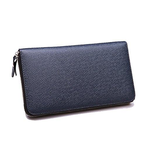 YAAGLE Neu Herren lang Abschnitt Geldbeutel europäisch Business Taschen Handgepäck Brieftasche Clutches-kaffee blau