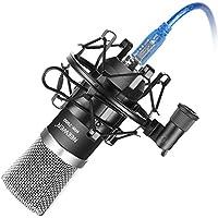 Neewer NW-7000 USB Micrófono Condensador Kit para Windows y Mac con Montaje de Choque Metal, Casquillo de Espuma Tipo Bola Antiviento, Cable de Audio USB para Radiodifusión y Grabación (Negro)