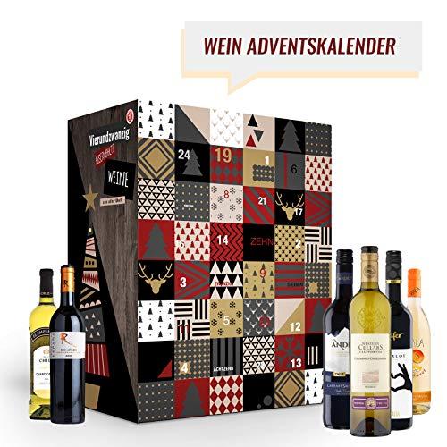 Wein Adventskalender mit 24 außergewöhnlichen Weinsorten aus aller Welt (24 x 0,25l) | Weinkalender als Geschenk für ErwachseneI Weihnachtskalender für Frauen| Weinweltreise
