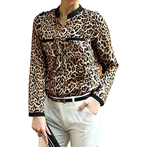 Reasoncool Le nuove donne della stampa del leopardo a maniche lunghe in chiffon camicia sottile camicette casuali
