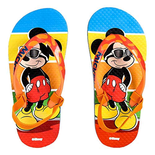 Mickey Mouse Flip Flops Boys Summer Disney | with Elastic Band (7/7.5-8.5/9) | Orange | Sizes from 7 to 12.5