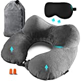 SYCOTEK Travel Pillow Inflatable Neck Pillow Flight Cushion with Eye Mask, Ear Plugs and Storage Pouch, Grey