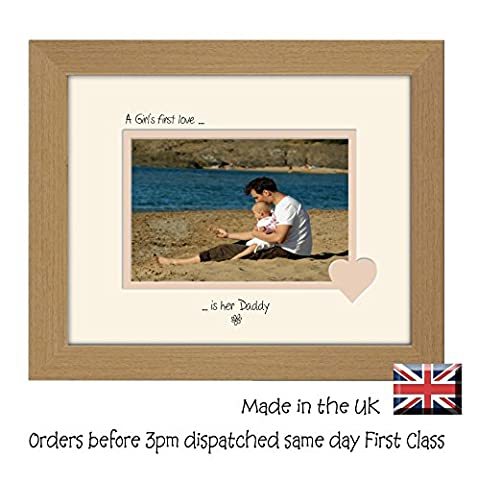 A Girl's First Love is her Daddy Personalised Double Mounted Landscape 9 x 7 Photo Frame (Oak Finish Frame Cream Mount Beige Inside)