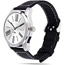 18mm Huawei Banda de Reloj, Fullmosa®Grueso de Grano Cuero Genuino Correa de Reemplazo Compatible con 1.45 pulgadas Asus Zenwatch 2 con Cierre de Metal, Versión Corta, Negro