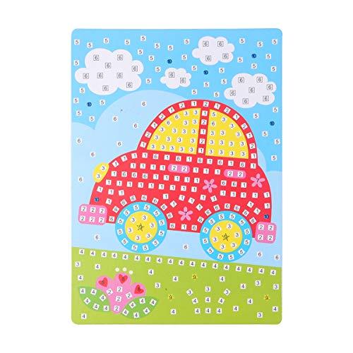 Artibetter Mosaik Sticker Art Sticky DIY handgefertigte Kunst Kits für Kinder Kindergarten (Auto) (Kunst Für Kunsthandwerk Kindergarten Den Und)