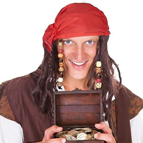 Karibik Piraten BART Und Schnurrbart Set - Hatstar Piraten Piratin Perücke Seeräuber mit