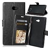 FUBAODA étui Folio en cuir pour Sony Xperia M2 (D2403 D2406), [Syncwire Câble Gratuit] Cover Coque TPU Porte cartes avec Support Protection intégrale pour Sony Xperia M2 (D2403 D2406) (noir)