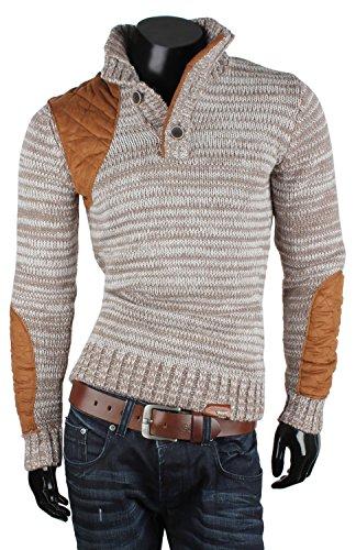 TAZZIO pull-over en tricot pour homme taille s à xXL Marron - Bison