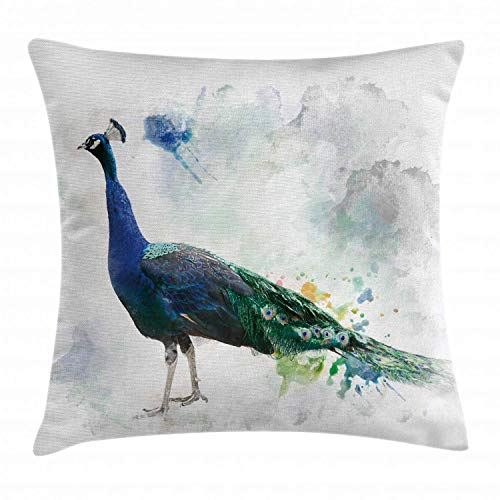 ZMYGH Animal Throw Pillow Cushion Cover, Digital Watercolor of Peacock with Colorful Feathers Ancient Bird, Decorative Square Accent Pillow Case,Inches, Forrest Green Dust and Blue 18x18 inch