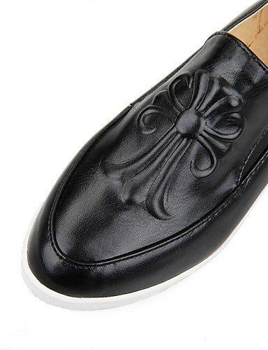 ShangYi gyht Scarpe Donna-Mocassini-Casual-Comoda / Punta arrotondata-Piatto-Finta pelle-Nero / Bianco Black
