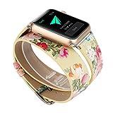 X-cool Apple Watch Bracelet Femme Cuir Long Double Cercle Conception de fleur avec fermoir en métal (Jaune-38mm)