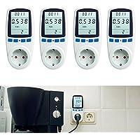 Asigo 4er Set Energiekosten-Messgerät Premium, Stromtarif frei einstellbar, Stromverbrauch, Energiekostenmessgerät, Stromverbrauchszähler | Deutscher Hersteller