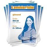 plastificar, DIN A4, 2x 125micrones, transparente, brillante, 1000unidades)