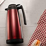 AA- kettle Isolationstopf Haushaltsthermoskanne 1.9L große Kapazität Edelstahl Thermos Glasliner/weinrot