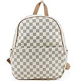 LeahWard Mädchen Rucksack Tasche Handtaschen der Qualitätsfrauen Taschen für die Schule für den Urlaub CW171 (Kariert Weiß (32x15x33cm))