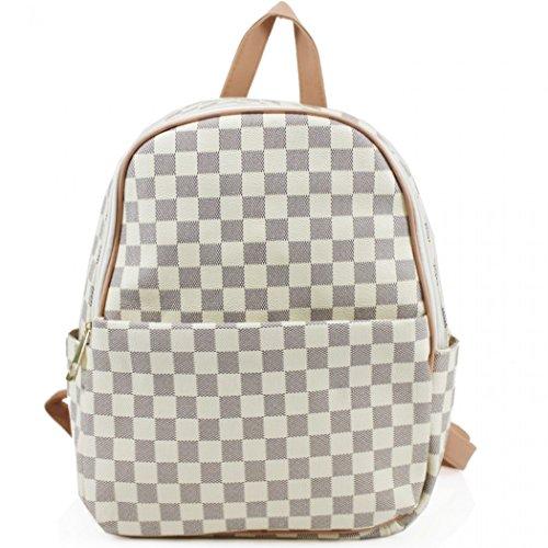 LeahWard Mädchen Rucksack Tasche Handtaschen der Qualitätsfrauen Taschen für die Schule für den Urlaub CW171 (Kariert Weiß (32x15x33cm)) (Kleidung Schule Kinder Verkauf)