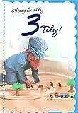 Cards Galore Online Alter 3Boy Geburtstag Karte–Young Boy, Blau Flach Gap & Holzeisenbahn-Set 22,2x 15,2cm