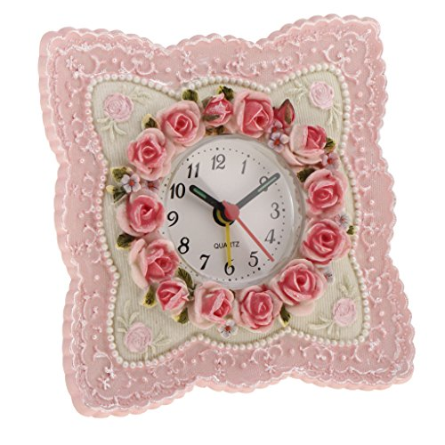 Tisch Kleiner Uhren Oder Schreibtisch (Fenteer Landhaus Stil Rosa Rose Blume Wohnkultur Tisch Schreibtisch Uhr Harz Wecker)