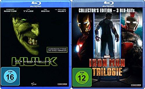 Der unglaubliche Hulk + Iron Man Trilogie (1-3) im Set - Deutsche Originalware [4 Blu-rays] (Hulk Tim Roth)