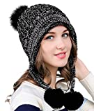 Urban GoCo Damen Winter Strickmütze mit Ohrenklappen, Schwarz, free size