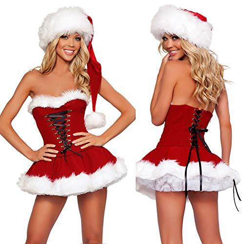 Cwzj miss babbo natale costume natale rosso costume velluto senza maniche sexy natale fancy dress mini abito con cappello