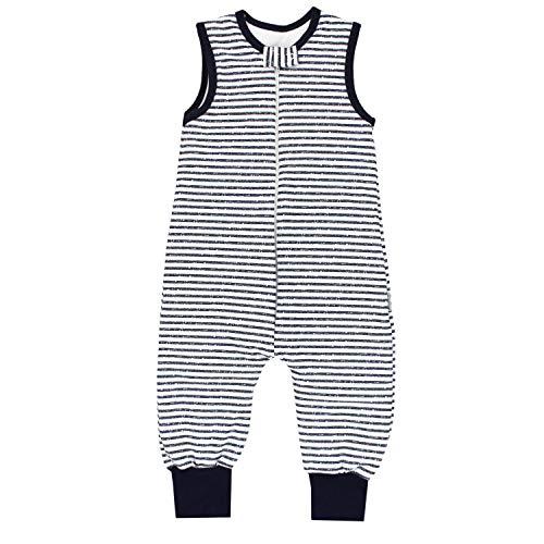 TupTam Baby Unisex Winter Schlafsack mit Beinen, Farbe: Streifenmuster Dunkelblau 2, Größe: 80-86