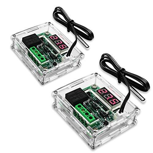 KeeYees 2 Pièces LED Digital Thermostat Contrôleur module avec Coquille acrylique - XH-W1209 refroidissement/chauffage Température Contrôleur DC 12V avec 30cm étanche Sonde NTC