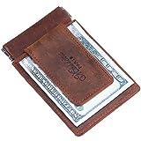 Win&Income Echt Leder Geldklammer mit Kartenhalter und Müzenfach