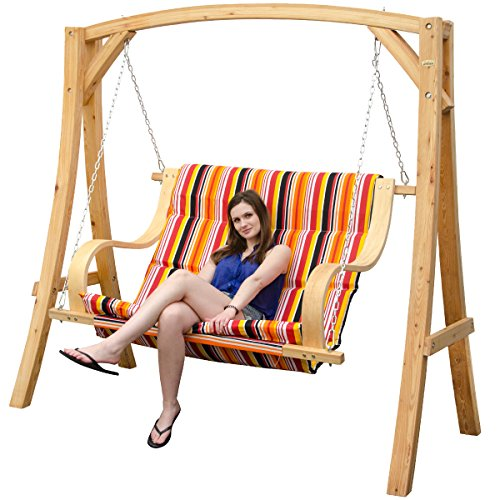 Magnificent Garden Patio Swing Wooden Swing Set 2 3 Seater Hanging Bench Alphanode Cool Chair Designs And Ideas Alphanodeonline