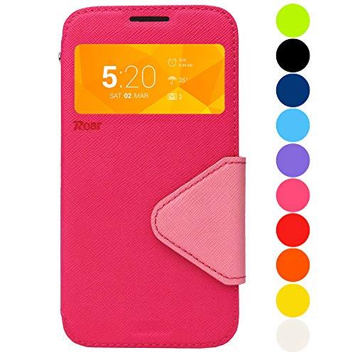 Roar Handy-Hülle für Samsung Galaxy Note 4, Hülle in Pink Rosa, Schutzhülle Tasche Handytasche [Premium Flip-Case mit Sichtfenster, Magnetverschluss, Standfunktion] - Pink Rosa (Samsung Note 4 Flip Case S-view)