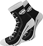 normani 4 Paar atmungsative Baumwoll Socken im Schuh – Design Farbe Schwarz Größe 39/42