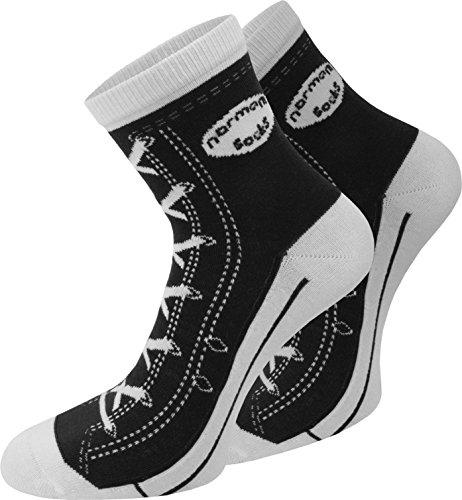 normani 4 Paar Baumwoll Socken im Schuh - Design Farbe Schwarz Größe 35/38 (Diabetiker Gepolsterte Socken)