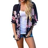 Strickjacke Damen Cardigan Frauen Strickmantel Lang Ronamick Blumen Druck Strand Chiffon lose Schal Kimono Cardigan Top Cover Bluse (M)
